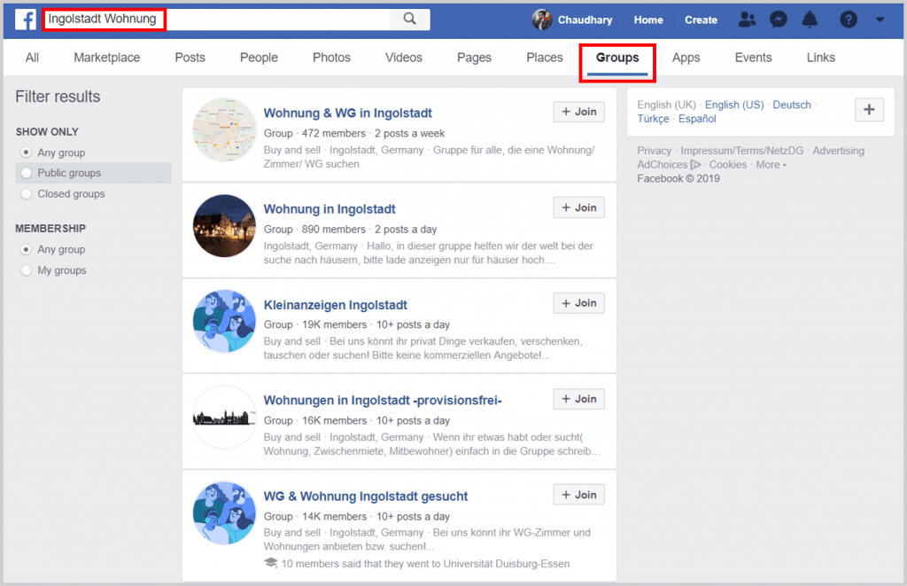 Facebook Apartment Search - Germany