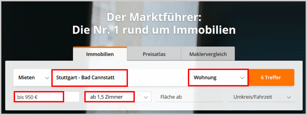 Immobilienscout24 Homepage
