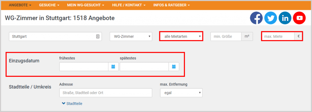WG-Gesucht Search Filters