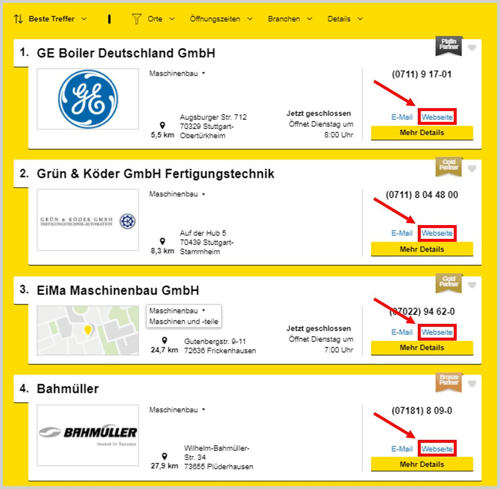 Gelbe Seiten Search Results